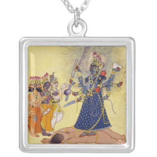 Goddess Bhadrakali Worshipped by the Gods 1675 Silver Plated Necklace