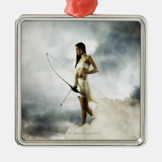 Goddess Diana with bow and arrow Silver-Colored Square Ornament