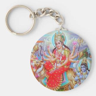 Goddess Durga Ji Basic Round Button Keychain