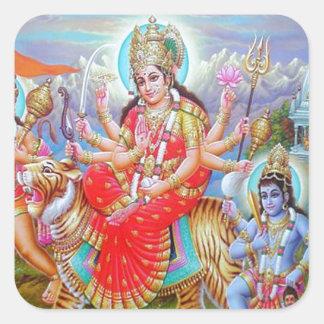 Goddess Durga Ji Square Sticker