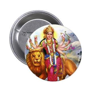Goddess Durga with Lion 2 Inch Round Button