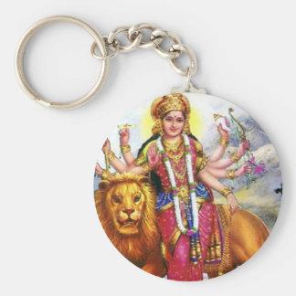 Goddess Durga with Lion Basic Round Button Keychain
