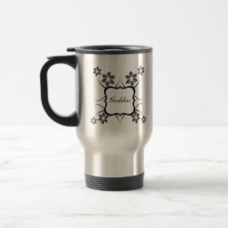 Goddess Floral Mug, Dark Gray Travel Mug