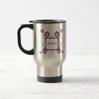 Goddess Floral Mug, Dark Purple Travel Mug