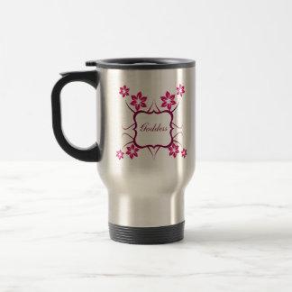 Goddess Floral Mug, Magenta Travel Mug