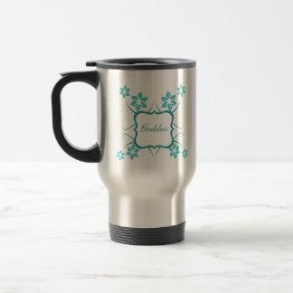 Goddess Floral Mug, Turquoise Travel Mug