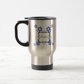 Goddess Floral Mug, Vibrant Blue Travel Mug