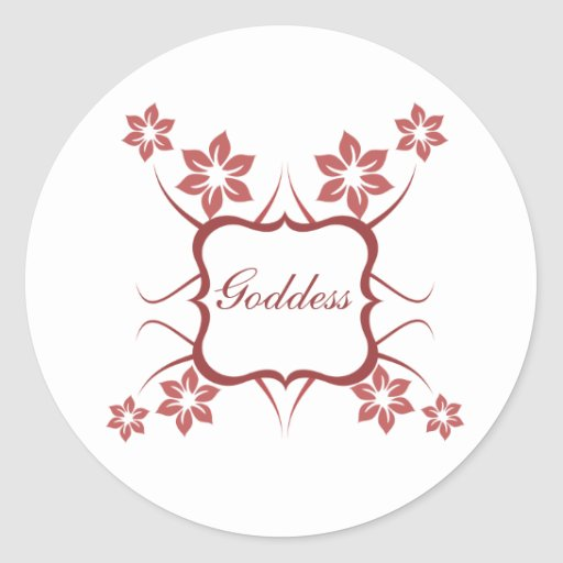 Goddess Floral Stickers, Brick Red