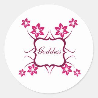 Goddess Floral Stickers, Magenta Round Sticker