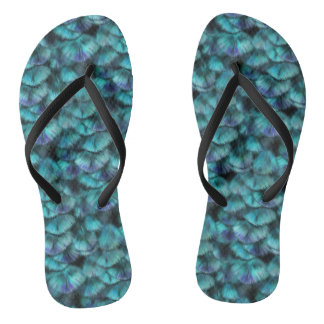 Goddess Isis Blue Feathers Flip Flops