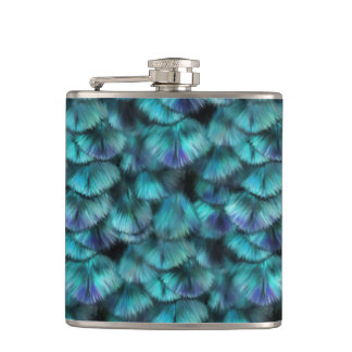 Goddess Isis Blue Feathers Hip Flask