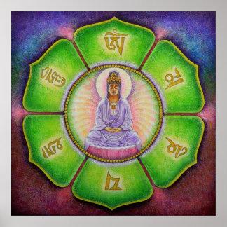 "Goddess Kuan Yin ""Om Mani Padme Hum"" Art Poster"