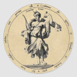 Goddess Luna Moon Classic Round Sticker