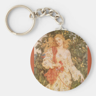 Goddess of Blossoms and Flowers, Flora by Morgan Basic Round Button Keychain