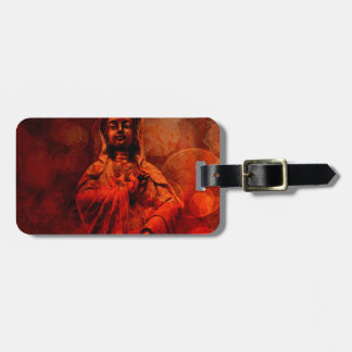 Goddess of Compassion Bronze Statue Red Grunge Bag Tag