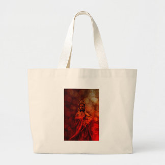 Goddess of Compassion Bronze Statue Red Grunge Large Tote Bag