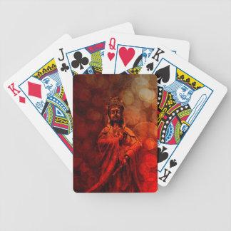 Goddess of Compassion Bronze Statue Red Grunge Poker Deck