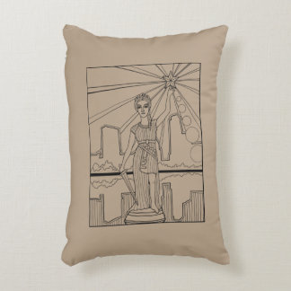 Goddess Of Liberty Line Art Design Decorative Pillow