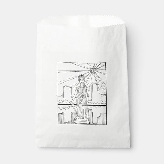 Goddess Of Liberty Line Art Design Favour Bag