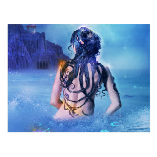 Goddess of sea and night postcard