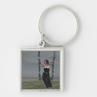 Goddess Silver-Colored Square Keychain