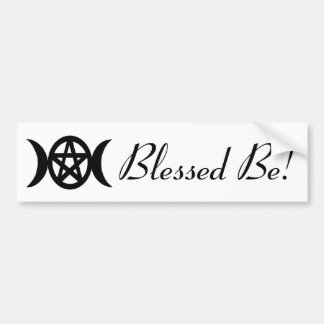 Goddess Symbol Pentacle with Moons Blessed Be! Bumper Sticker