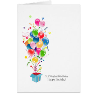 Godfather Birthday Cards, Colourful Balloons Card
