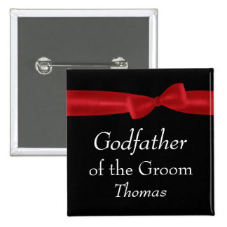 GODFATHER of GROOM Red Bow Wedding Custom Name 2 Inch Square Button