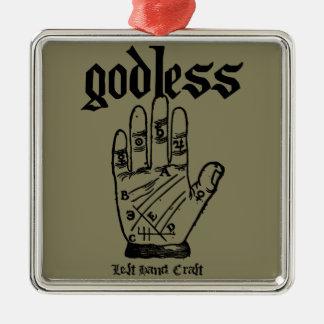 Godless Atheist Silver-Colored Square Ornament