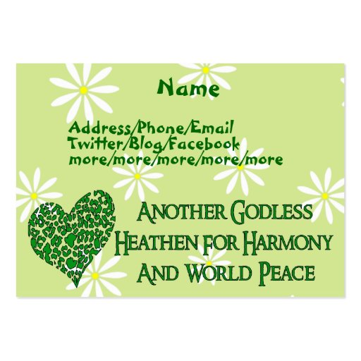 Godless For World Peace Business Card