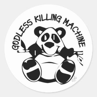 GODLESS KILLING MACHINE PANDA ROUND STICKER