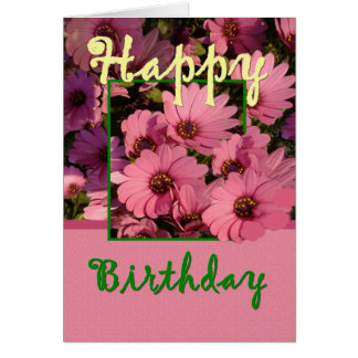 GODMOTHER - Birthday with Pink Daisy Flowers Greeting Card