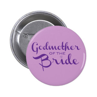 Godmother of Bride Purple on Purple 2 Inch Round Button
