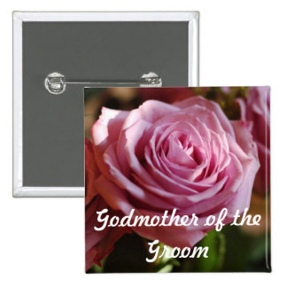 Godmother of the Groom Rose Button