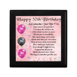 Godmother Poem - 30th Birthday Design Gift Box