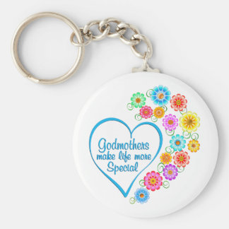 Godmother Special Heart Basic Round Button Keychain