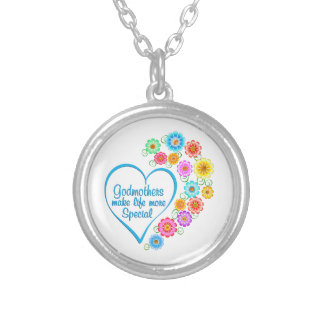 Godmother Special Heart Silver Plated Necklace
