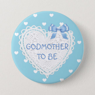 Godmother to be blue hearts Baby Shower Button