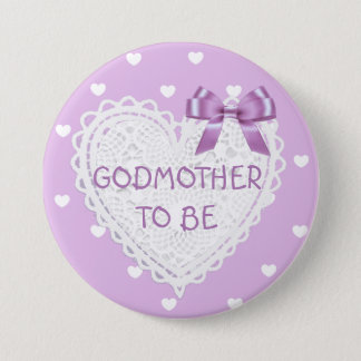 Godmother to be purple hearts Baby Shower Button
