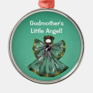 Godmother's, Little Angel! Silver-Colored Round Ornament