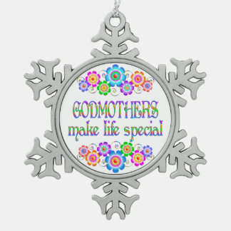 Godmothers Make Life Special Snowflake Pewter Christmas Ornament