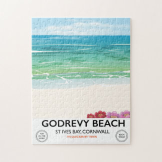 Godrevy Beach St Ives Bay, Cornwall travel poster Jigsaw Puzzle