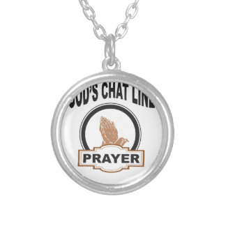 gods chat prayer silver plated necklace