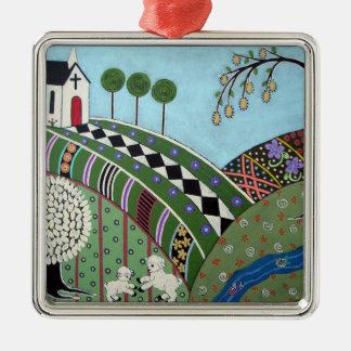 God's Country Folk Art Silver-Colored Square Ornament
