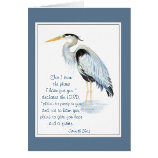 God's Plans  Bible Inspirational Quote Heron Card