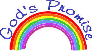 b554483ea1f6f God s promise with rainbow Christian Trucker Hat