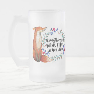 gods time foxes frosted glass beer mug
