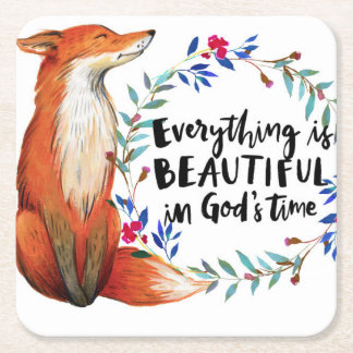 gods time foxes square paper coaster