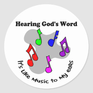 God's word is like music round sticker