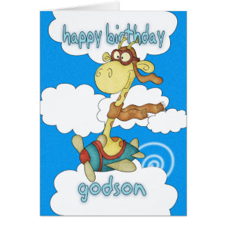 Godson Aeroplane / Airplane Giraffe Birthday Card